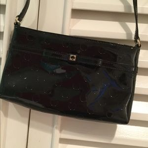 Polka dot patent leather purse
